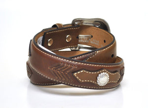 Nocona Kid's Western Leather Concho Belt-Brown N4429602
