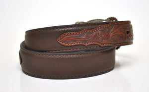 Nocona Kid's Western Tooled Leather Belt & Longhorn Buckle-Brown N4428602