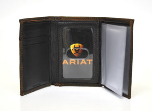 Ariat Trifold Concho Logo Boot Stitch Brown Leather Wallet
