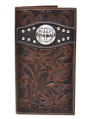 Ariat Rodeo Genuine Leather Tooled Cross Concho Western Men's Wallet