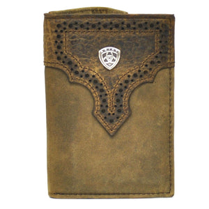 Ariat Tri-Fold Genuine Full Grain Leather Western Men's Wallet-Brown A3511444