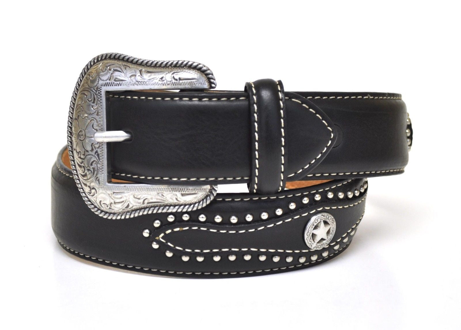 Nocona Kid's Western Leather Texas Star Concho Belt-Black N4429001