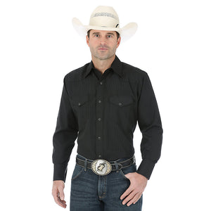 Wrangler Silver Edition Western Snap Long Sleeve Black Shirt
