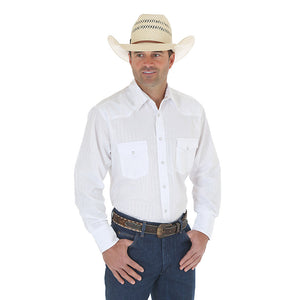 Wrangler Silver Edition Western Snap Long Sleeve White Shirt