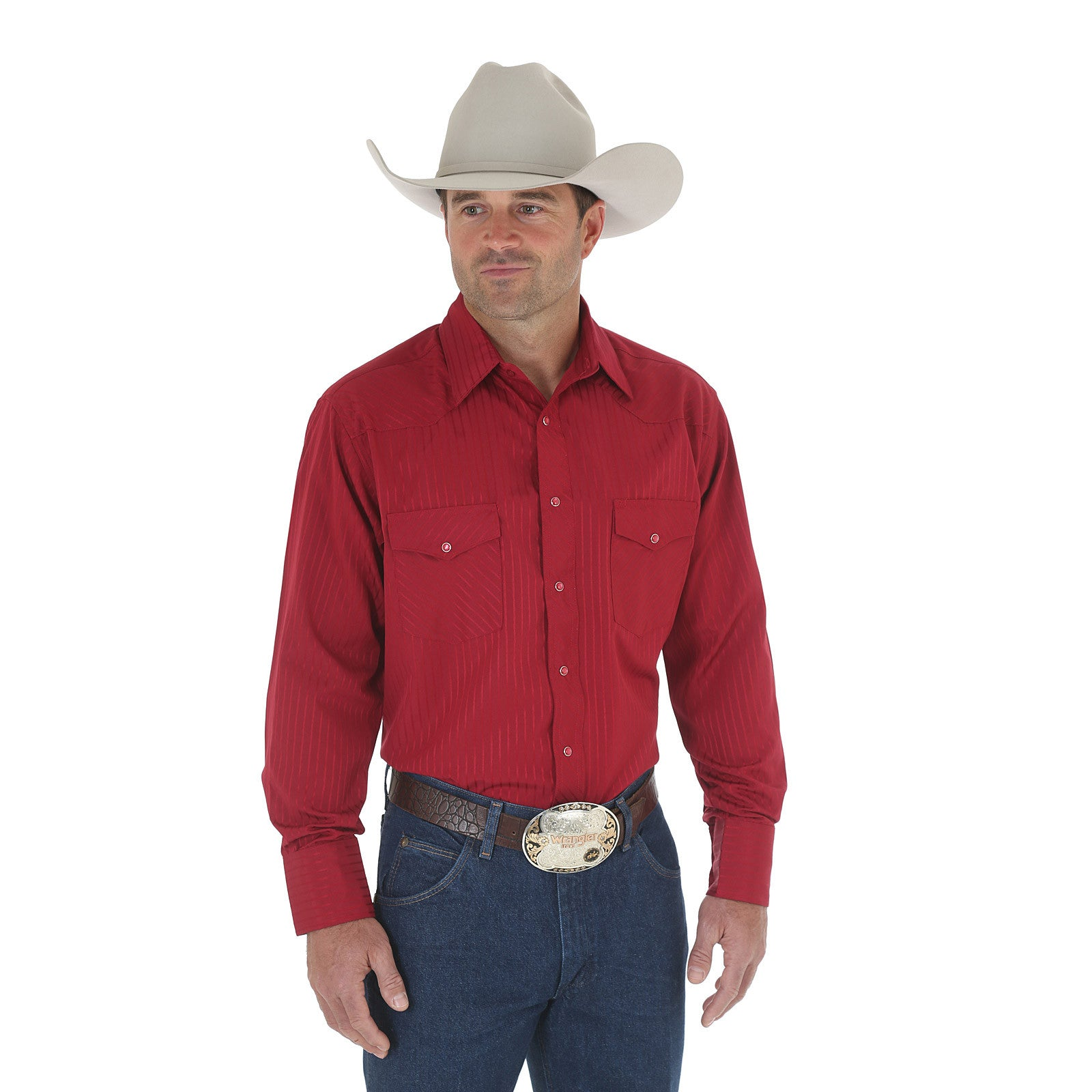 Wrangler Silver Edition Western Snap Long Sleeve Wine Shirt