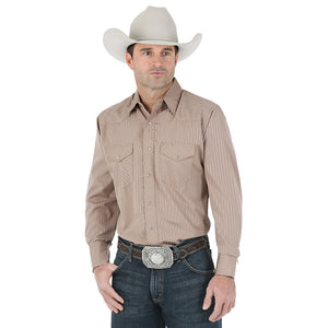 Wrangler Silver Edition Western Snap Long Sleeve Dark Tan Shirt