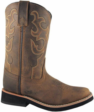 Smoky Mountain Children's Kid's Pueblo Brown Square Toe Boots