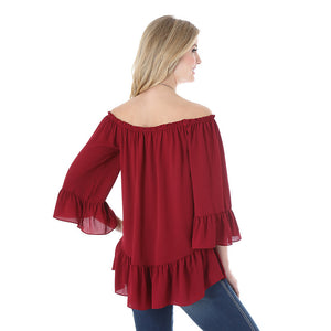 Wrangler Women's Western Long Ruffle Sleeve Solid Wine Top