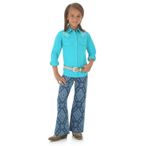 Wrangler Girls' Western Embroidered Turquoise Shirt
