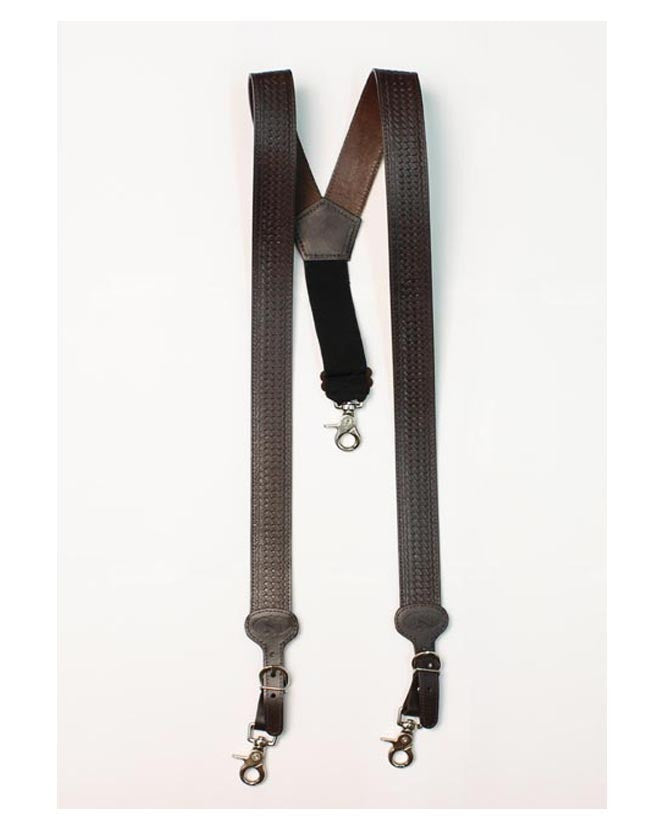 M&F Western Men's Brown Leather Suspenders
