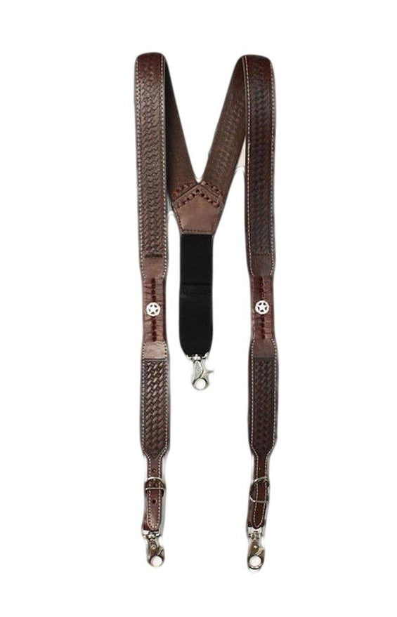 M&F Western Men's Brown Basketweave Star Concho Suspenders