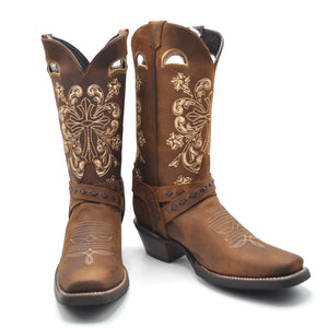 Luma Antonia Womens Dark Brown With Cross Embroidery Square Toe Western Boots