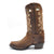 Luma Antonia Women's Dark Brown With Cross Embroidery Square Toe Western Boots
