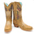 Luma Aurora Women's Tan With Fabric Inlay And Stones Square Toe Boots