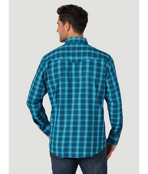 Wrangler Men's Silver Edition Long Sleeve Teal/Black Snap Shirt