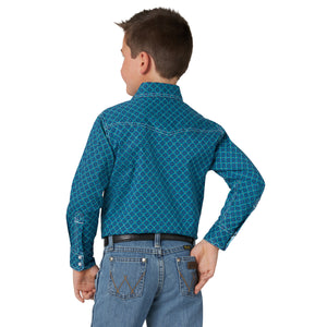 Wrangler Boy's 20X Advanced Comfort Western Snap Shirt Blue