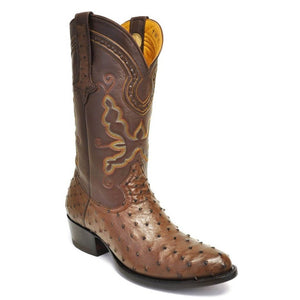 Gavel Men's Cameron Full Quill Ostrich Boots -Tobacco