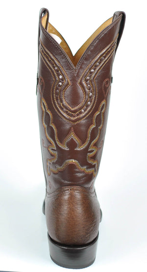 Gavel Handcrafted Men's Brown Bullhide Cowboy Boots