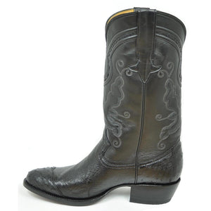 Gavel Men's Hidalgo 4 Piece Ostrich Classic Western Boot -Black