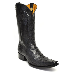 Gavel Men's Cortez Full Quill Ostrich Boot -Black
