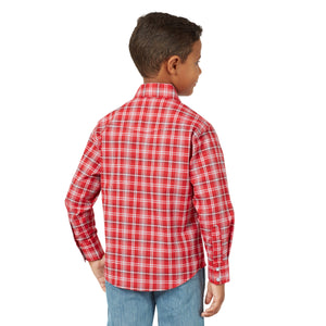 Wrangler Boy's Wrinkle Resist Long Sleeve Snap Shirt Red