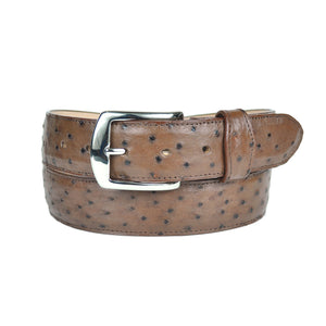 Gavel Men's Full Quill Ostrich Belt - Tobacco