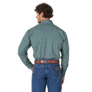 Wrangler Men's George Strait Long Sleeve Teal Snap Shirt