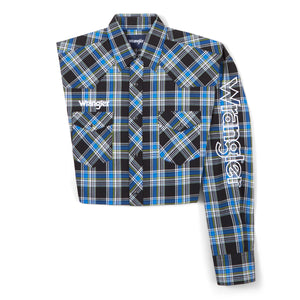 Wrangler Men's Logo Black/Blue Plaid Snap Shirt