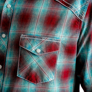 ROCK 47 by Wrangler Men's Plaid Burgundy/Teal Snap Shirt