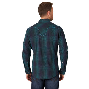 Rock 47 by Wrangler Long Sleeve Black/Blue/Purple Snap Shirt