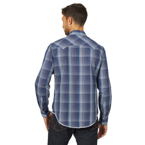 Wrangler Men's Fashion Western Snap Shirt Blue