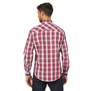 Wrangler Men's Fashion Western Snap Shirt Burgundy