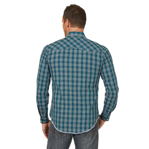 Wrangler Men's Fashion Snap Western Shirt Teal/Tan