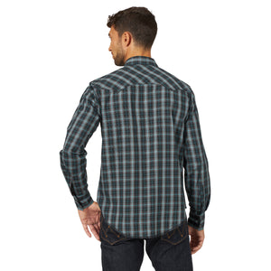 Wrangler Men's Fashion Snap Western Shirt Black/Grey
