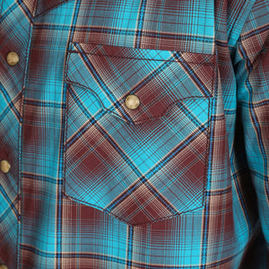 Wrangler Men's Retro Premium Western Shirt Turquoise/Brown