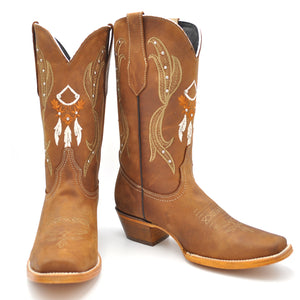 Luma Nora Womens Native Western Embroidery Square Toe Boot Brown