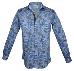 Steelo Men's Santino Blue Fashion Dress Shirt