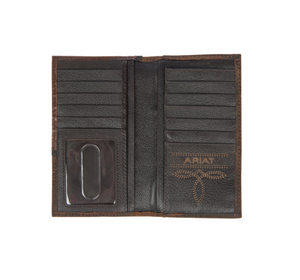 Ariat Cross Corner Overlay Brown Rodeo Leather Wallet