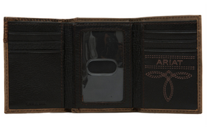 Ariat Logo Concho Boot Stitch Trifold Distressed Brown Leather Wallet
