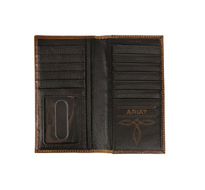 Ariat Embossed Floral Design Brown Leather Rodeo Wallet