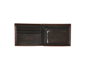 Ariat Embossed Floral Design Brown Leather Bifold Wallet
