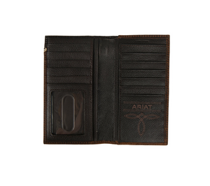 Ariat Logo Concho Embossed Overlay Rodeo Leather Wallet