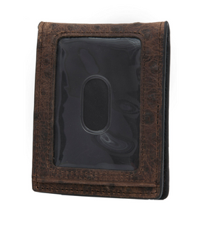 Nocona Bi-Fold Money Clip Brown Ostrich Print Leather Wallet