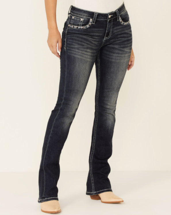 Grace in LA Aztec Embroidered Bootcut Jeans