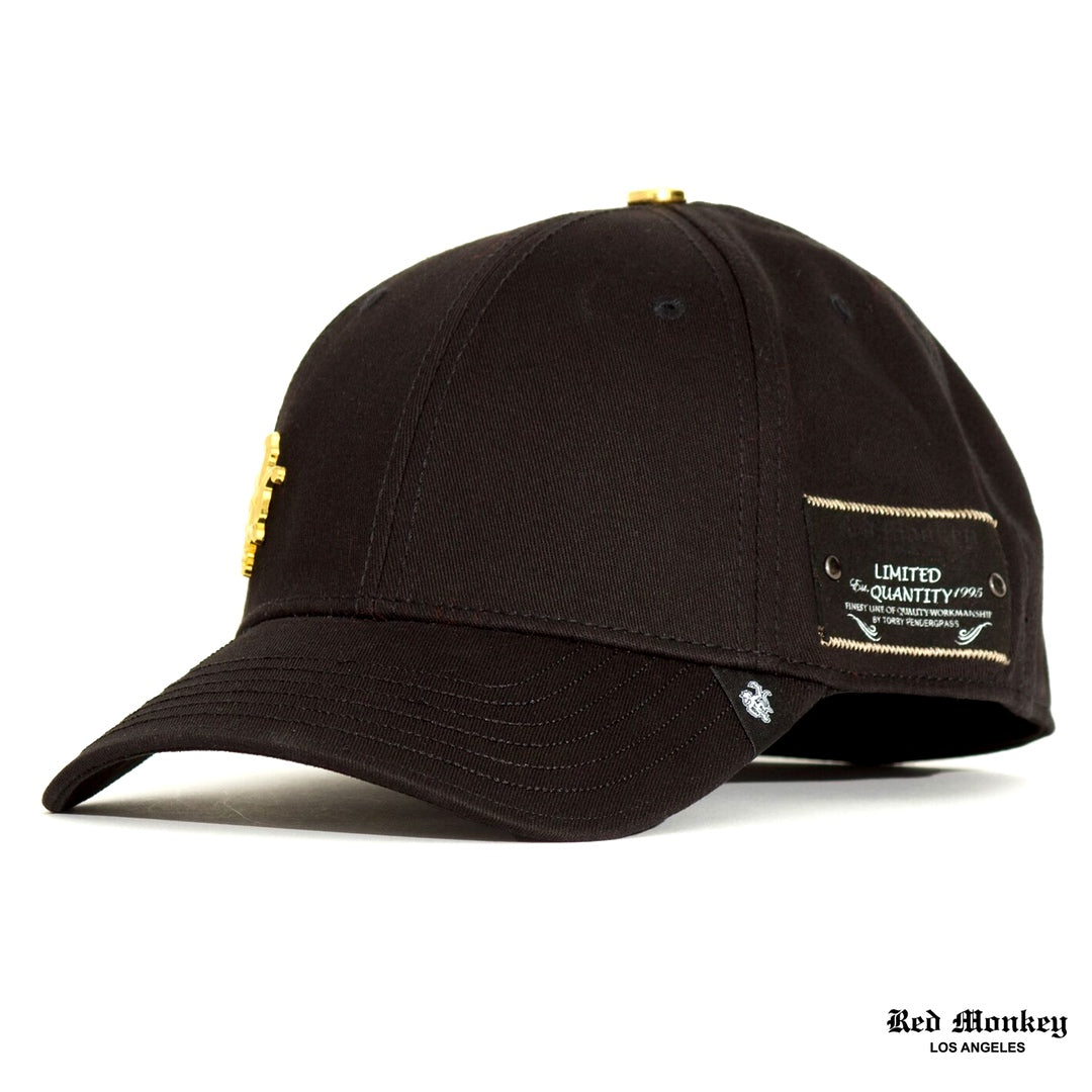 2e3f390baf8 Red Monkey Flex Monkey Stretch-Fit Cap Black Gold