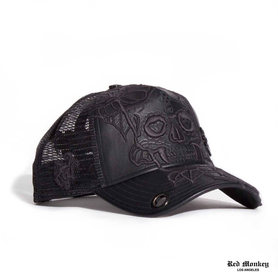 c5211872dc4 Red Monkey Flower Skull Black Trucker Hat