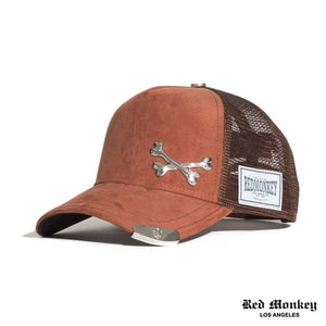Red Monkey Cross Bones Tip Mocha Trucker Hat