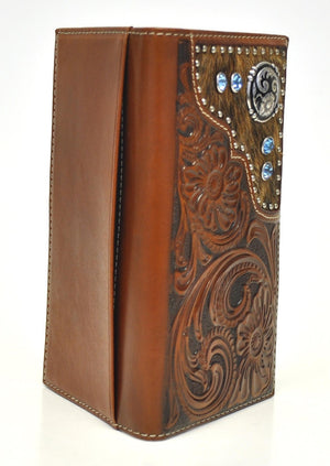 Nocona Floral Embossed Tan Leather Calf Hair w/ Blue Stones Wallet