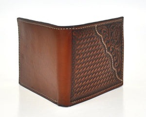 Nocona Pro Series Basket Weave Design Tan Bifold Wallet