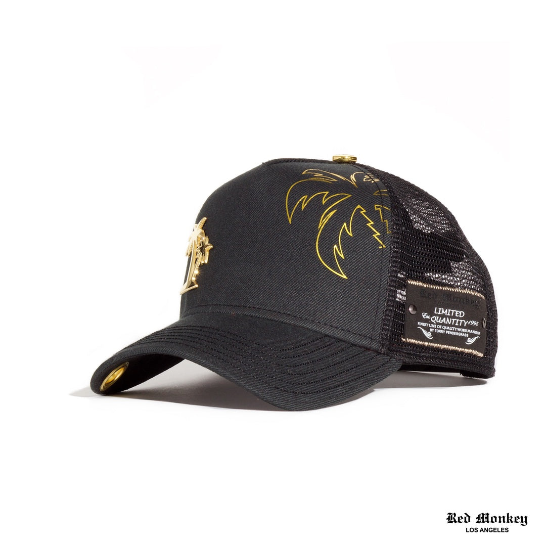 bac0d290 Red Monkey Palms 2019 Black Trucker Hat